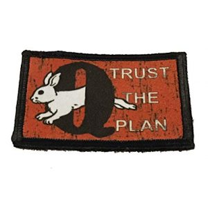 """RedheadedTshirts Airsoft Morale Patch 1 2x3"""" White Rabbit QAnon""""Trust The Plan"""" Morale Patch Military Tactical Made in The USA"""