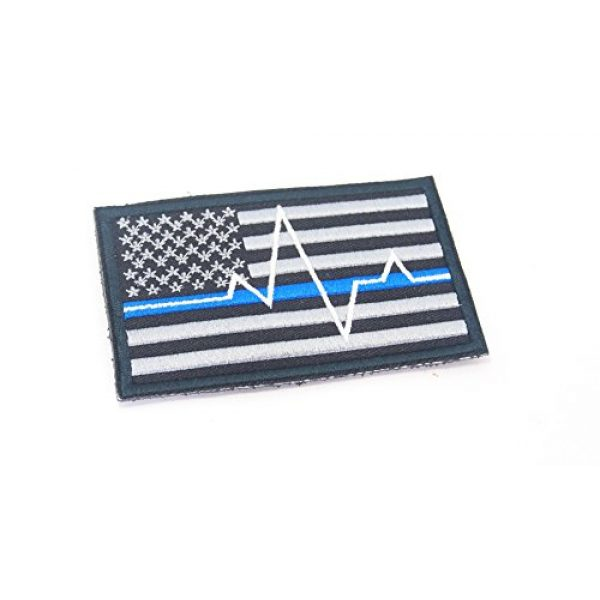 Astro Airsoft Morale Patch 1 Astro@ P3 USA Flag Thin Bule Line EMT EMS Paramedic Morale Patch Hook Backing