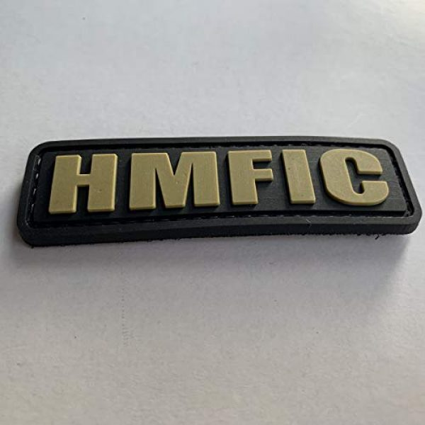 uuKen Airsoft Morale Patch 3 HMFIC Patch Hook Fastener Backing Head Mother Fker in Charge 3.15''x1'' PVC Patch (Black and Tan)