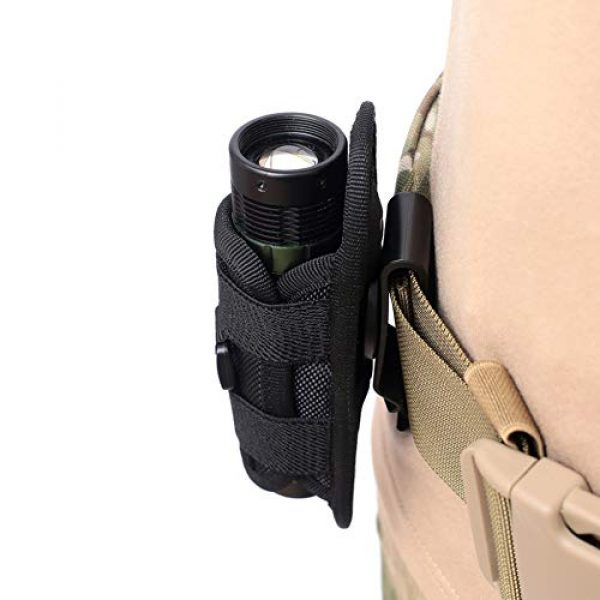 Biowlucn Tactical Pouch 7 Biowlucn Tactical Flashlight Pouch Holster, Rotatable Flashlight Holder Belt Clip Tactical Torch Carry Case with 360 Degree Carabiner Reel Clip for Belt Portable Torch Cover Holder