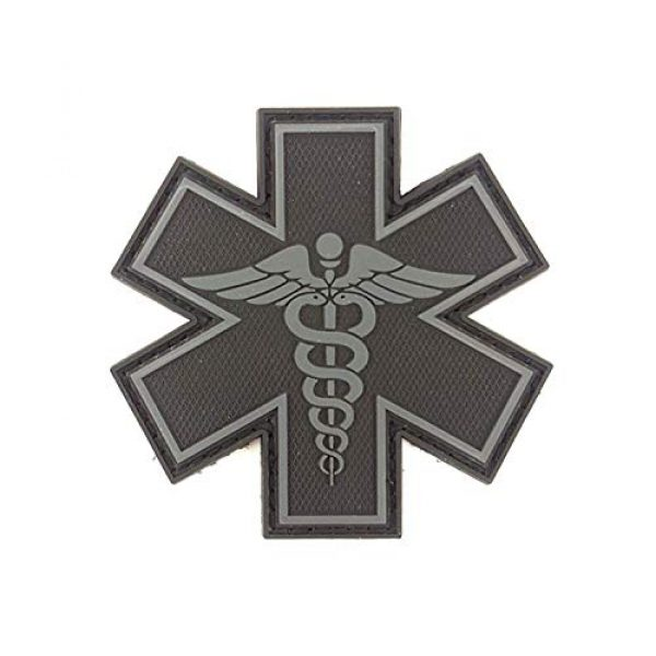 """Tactical Innovations Canada Airsoft Morale Patch 1 PVC Morale Patch - EMS - Medical Responder 3"""" Star of Life - Blk & Gry - Dual Snake"""