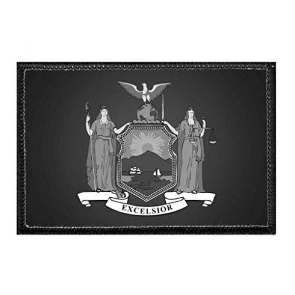 P PULLPATCH Airsoft Morale Patch 1 New York State Flag - Black and White   Hook and Loop Attach for Hats, Jeans, Vest, Coat   2x3 in   by Pull Patch