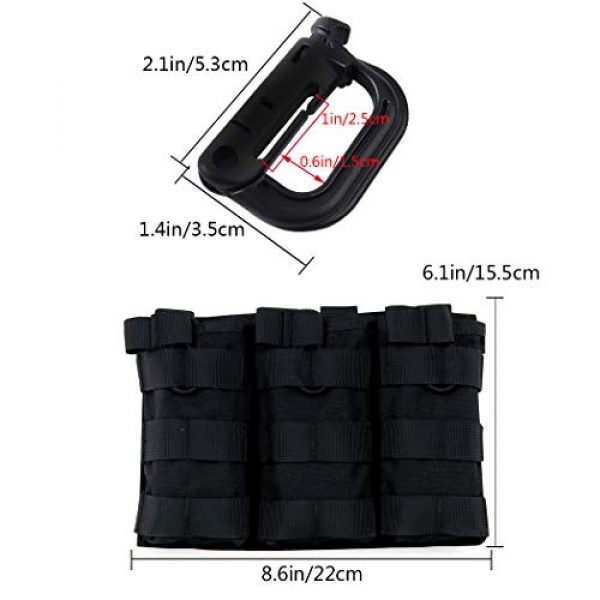 Aoutacc Tactical Pouch 2 Aoutacc Tactical Magazine Pouch Holder MOLLE Triple Open-Top Mag Pouch with D-Ring Grimlock Locking for M4 M16 AR-15 Magazines