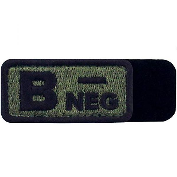 """EmbTao Airsoft Morale Patch 5 EmbTao Type B Negative Tactical Blood Type Patch Embroidered Morale Applique Fastener Hook & Loop Emblem - Green & Black -2""""x1"""""""