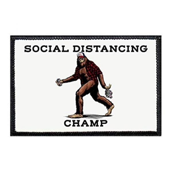 P PULLPATCH Airsoft Morale Patch 1 Social Distancing Champ - Big Foot   Hook and Loop Attach for Hats, Jeans, Vest, Coat   2x3 in   by Pull Patch
