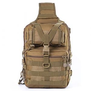 Pvnoocy Tactical Backpack 1 Tactical Sling Bag, Tactical Molle Shoulder Crossbody Bag 600D Military Chest Shoulder Pack Shoulder Sling Backpack for Hunting Camping Trekking Travelling