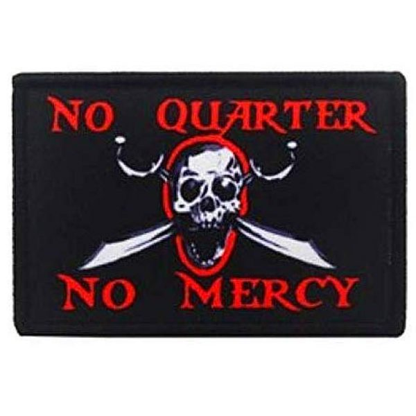 Fine Print Patch Airsoft Morale Patch 1 No Quarter No Mercy Pirate Skull Military Hook Loop Tactics Morale Printed Patch