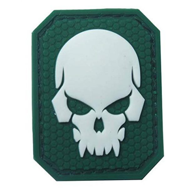 Tactical PVC Patch Airsoft Morale Patch 1 Pirate Skull Glow-in-Dark Morale Military Patch 3D PVC Rubber Tactical Rubber Hook Patch (Green)