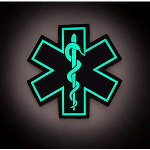 """Tactical Innovations Canada Airsoft Morale Patch 4 PVC Morale Patch - EMS - Medical Responder 3"""" Star of Life - Glow in The Dark - Single Snake"""