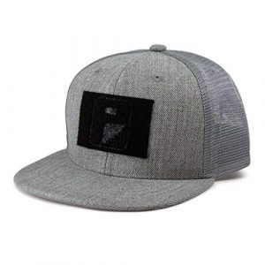 P PULLPATCH Tactical Hat 1 Pull Patch Tactical Hat | Kids Snapback Flat Bill Trucker Cap | 2x3 in Hook and Loop Surface to Attach Morale Patches | 6 Panel | Heather Grey | Free US Flag Patch Included