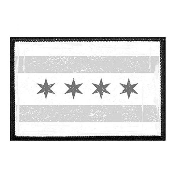 P PULLPATCH Airsoft Morale Patch 1 Chicago City Flag - Black and White - Distressed Morale Patch | Hook and Loop Attach for Hats, Jeans, Vest, Coat | 2x3 in | by Pull Patch