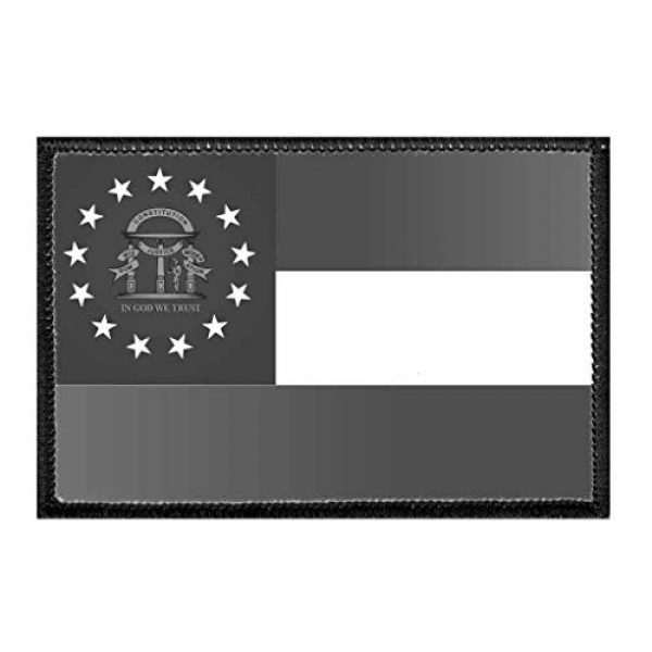 P PULLPATCH Airsoft Morale Patch 1 Georgia State Flag - Black and White Morale Patch   Hook and Loop Attach for Hats, Jeans, Vest, Coat   2x3 in   by Pull Patch