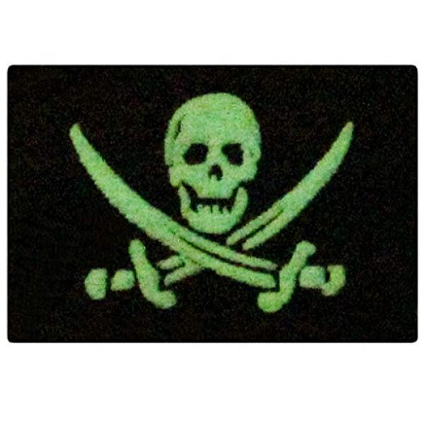 EmbTao Airsoft Morale Patch 1 Glow in Dark Pirate Flag Military Morale Applique Fastener Hook & Loop Patch