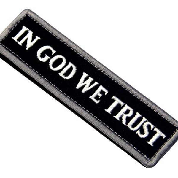 EmbTao Airsoft Morale Patch 2 EmbTao in GOD We Trust Embroidered Tactical Morale Fastener Hook&Loop Patch - Black & White