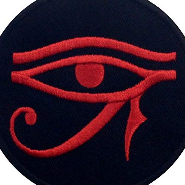 EmbTao Airsoft Morale Patch 2 Eye of Horus Wedjat Patch Embroidered Applique Iron On Sew On Emblem, Red & Black