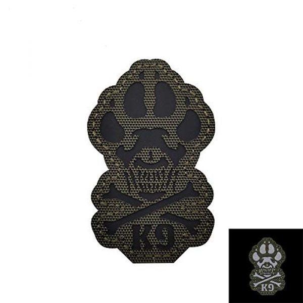 Veelkrom Airsoft Morale Patch 1 Veelkrom Reflective K9 & Crossbone Killer Attack Police Dog Fastener Patch Tactical Morale Military Emblem Badge Hook Loop Backing Swat for Service Animal Pet Vests/Harnesses (Green)