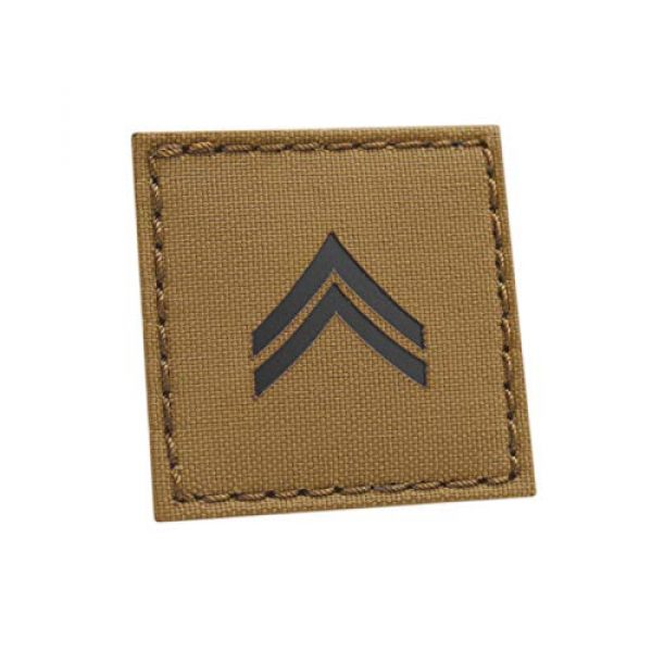 Tactical Freaky Airsoft Morale Patch 1 Coyote IR 2x2 US Army Corporal CPL E-4 Rank USA Tactical Morale Hook-and-Loop Patch