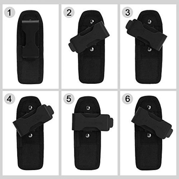 AIRSOFTPEAK Tactical Pouch 5 AIRSOFTPEAK Flashlight Pouch Holster Carry Case Holder with 360 Degrees Rotatable Belt Clip Long Type, Black