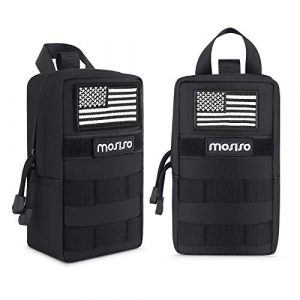 MOSISO Tactical Pouch 1 MOSISO Tactical Pouch Bag (2 Pack), Water Repellent Steady Compact Multi-Purpose Light-Weight Organizer Utility Tactical Waist Belt Bag with Handle Molle EDC Pouch Bags with USA Flag, Black