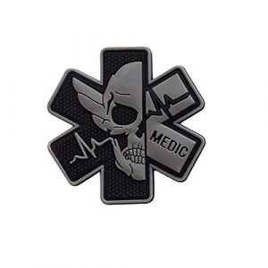 Zhikang68 Airsoft Morale Patch 1 Medic Patch 3D PVC Rubber Paramedic Medical EMS EMT MED First Aid Morale Tactical Morale Skull Military Hook Fasteners Badge (Black Gray)