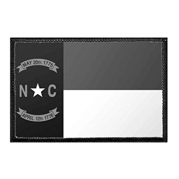 P PULLPATCH Airsoft Morale Patch 1 North Carolina State Flag - Black and White Morale Patch   Hook and Loop Attach for Hats, Jeans, Vest, Coat   2x3 in   by Pull Patch