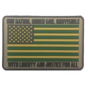 F-Bomb Morale Gear Airsoft Morale Patch 1 American Flag - One Nation Under God - PVC Morale Patch in ACU Color