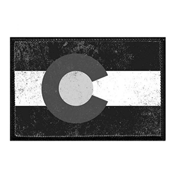 P PULLPATCH Airsoft Morale Patch 1 Colorado Flag Distressed B/W Morale Patch | Hook and Loop Attach for Hats, Jeans, Vest, Coat | 2x3 in | by Pull Patch