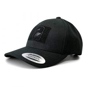 P PULLPATCH Tactical Hat 1 Pull Patch Tactical Hat, Baseball Cap | Authentic Snapback Premium Curved Bill | 2x3 in Hook and Loop Surface to Attach Morale Patches | 6 Panel | Black | Free US Flag Patch Included