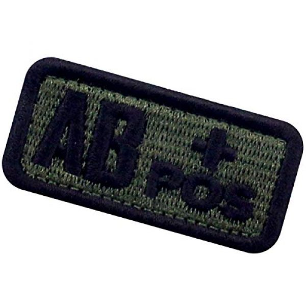 """EmbTao Airsoft Morale Patch 4 EmbTao Type AB Positive Tactical Blood Type Patch Embroidered Morale Applique Fastener Hook & Loop Emblem - Green & Black - 2""""x1"""""""