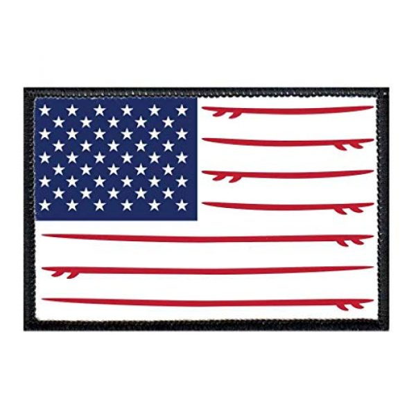 P PULLPATCH Airsoft Morale Patch 1 US Flag - Surfboards - Color Morale Patch | Hook and Loop Attach for Hats, Jeans, Vest, Coat | 2x3 in | by Pull Patch