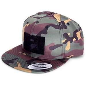 P PULLPATCH Tactical Hat 1 Pull Patch Tactical Hat, Baseball Cap | Snapback Premium Flat Bill | 2x3 in Hook and Loop Surface to Attach Morale Patches | Vintage Camo and Black | Free US Flag Patch Included