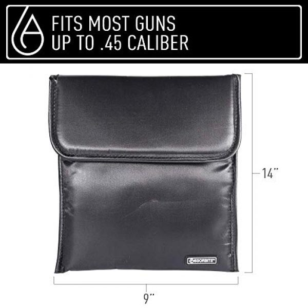 ABSORBITS Tactical Pouch 2 ABSORBITS Ballistics 1.0 Military-Grade Patented Bone-Dri Storage Bag for Reusable Tactical Firearm, Gun, Pistol Dry Storage and Corrosion Control of Handguns and Ammo, Black