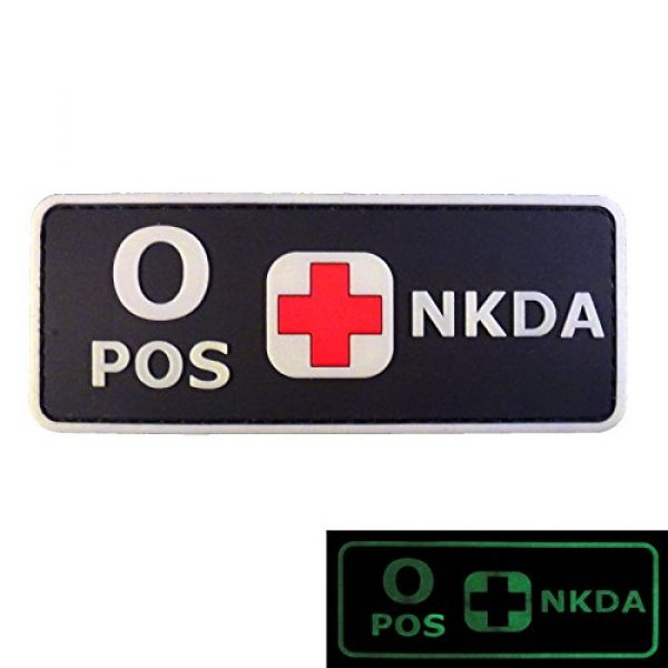 LEGEEON Airsoft Morale Patch 3 LEGEEON PVC Rubber 3D GITD Touch Fastener Patch Blood Type NKDA Glow in The Dark Combat Tactical GID