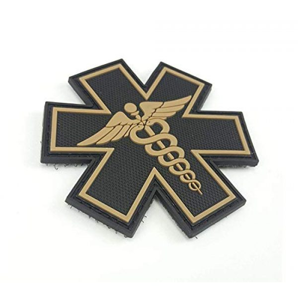 """Tactical Innovations Canada Airsoft Morale Patch 2 PVC Morale Patch - EMS - Medical Responder 3"""" Star of Life - Blk & Tan - Dual Snake"""