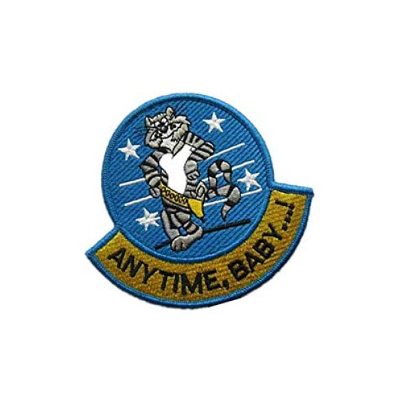 Embroidery Patch Airsoft Morale Patch 2 Anytime, Baby.! F-14 Tomcat Fighter Military Hook Loop Tactics Morale Embroidered Patch