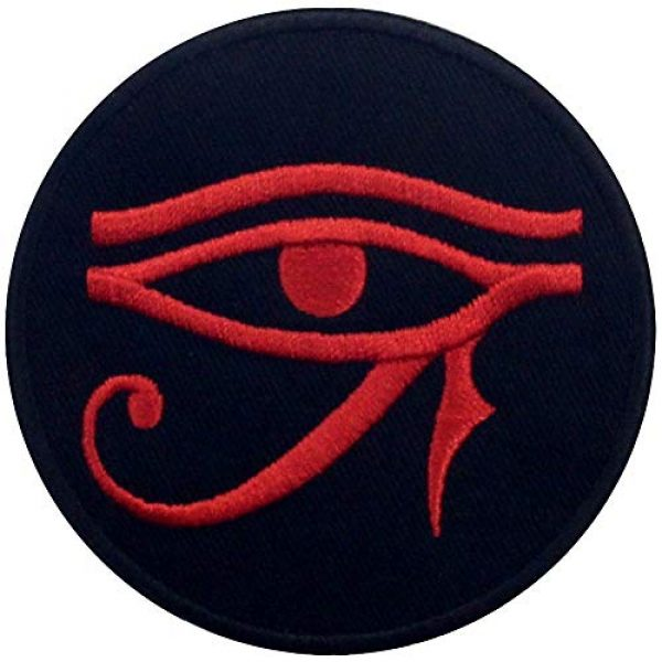 EmbTao Airsoft Morale Patch 1 Eye of Horus Wedjat Patch Embroidered Applique Iron On Sew On Emblem, Red & Black