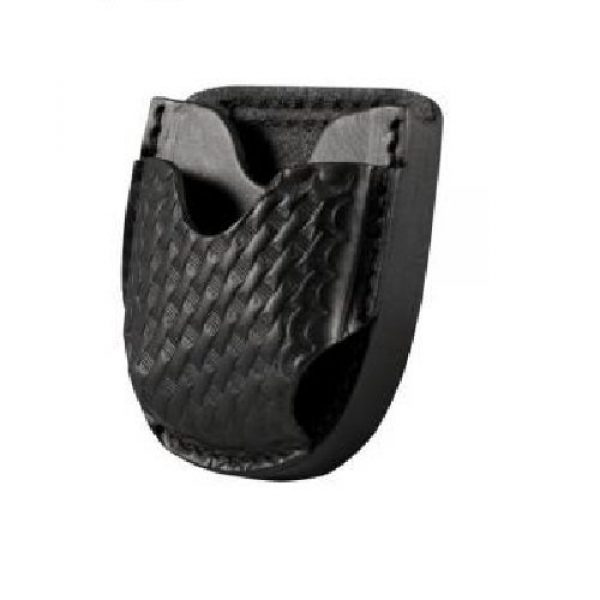 Boston Leather Tactical Pouch 2 Boston Leather 5515-3 Black Basketweave Top Grain Open Top Cuff Case