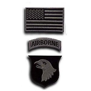 Embroidery Patch Airsoft Morale Patch 1 3 Pieces US 101st Airborne Division Military Hook Loop Tactics Morale Embroidered Patch (color1)