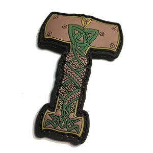 """Empire Tactical USA Airsoft Morale Patch 1 Thor's Hammer Viking Norse Ornament PVC/Rubber Morale Patch 3""""x 2.5"""""""