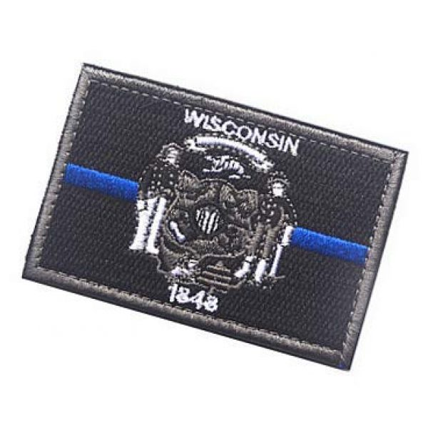 Embroidery Patch Airsoft Morale Patch 3 US Wisconsin State Flag Patch Military Hook Loop Tactics Morale Embroidered Patch (color3)