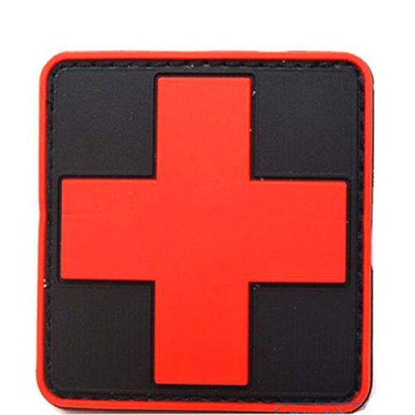 dufu-beauty- Airsoft Morale Patch 1 Outdoor Products PVC Patch Armband The Medical Rescue Of The Red Cross Chapter Black Background/Red