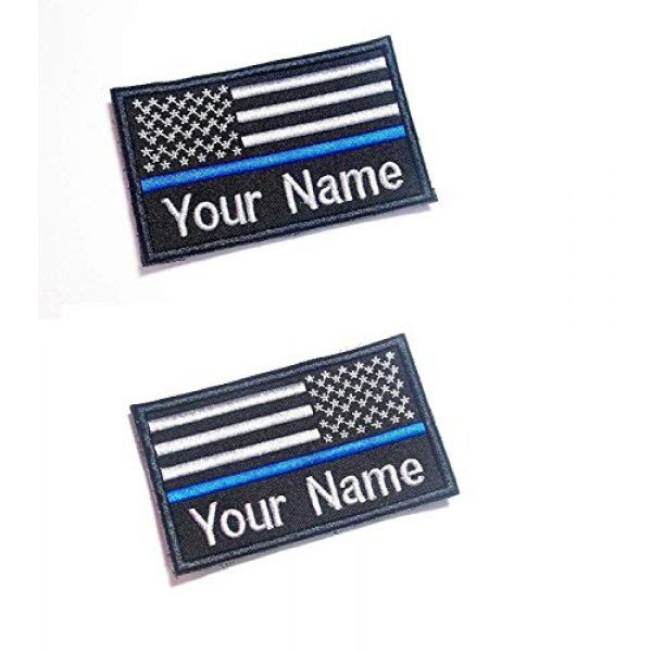 DREAM ARMY Airsoft Morale Patch 1 DREAM ARMY Custom Name Thin Blue LINE Police SWAT USA Flag 9X5.5 cm Morale Patch Hook Backing