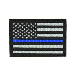 Great 1 Products Airsoft Morale Patch 1 Reflective American Thin Blue Line Flag Patch, 2x3 inch, Cordura Material, Hook and Loop, Military and Tactical Accessory for Clothing-Jackets-Hats-Backpacks (Thin Blue Line)