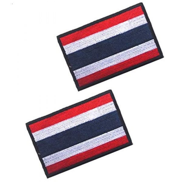 Tactical Embroidery Patch Airsoft Morale Patch 1 2pcs Thailand Flag Embroidery Patch Military Tactical Morale Patch Badges Emblem Applique Hook Patches for Clothes Backpack Accessories