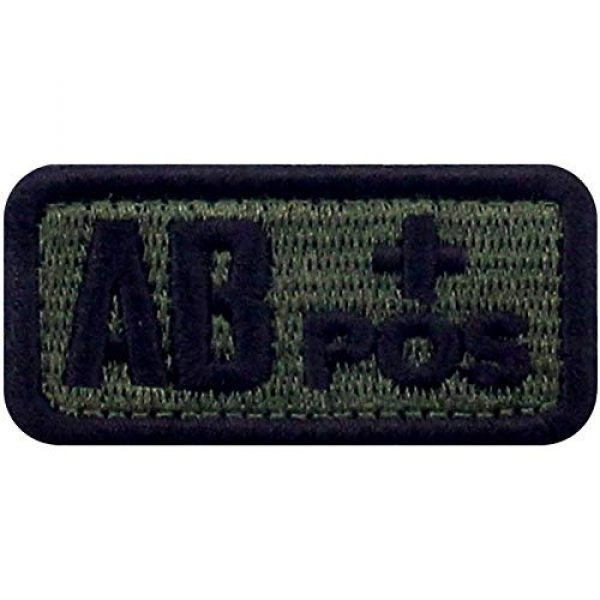 """EmbTao Airsoft Morale Patch 1 EmbTao Type AB Positive Tactical Blood Type Patch Embroidered Morale Applique Fastener Hook & Loop Emblem - Green & Black - 2""""x1"""""""