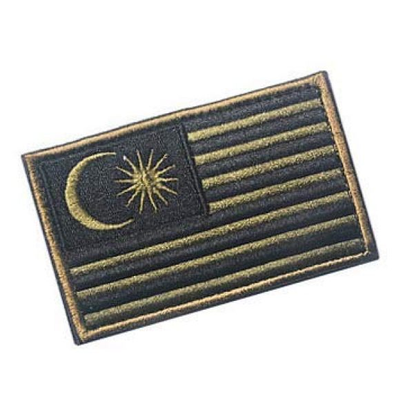 Embroidery Patch Airsoft Morale Patch 2 Malaysia Flag Patch Military Hook Loop Tactics Morale Embroidered Patch (color2)