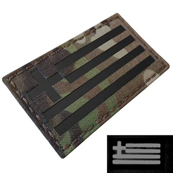 Tactical Freaky Airsoft Morale Patch 3 IR Multicam Greek Greece Flag Hellenic Hellas 3.5x2 Infrared IFF Tactical Morale Fastener Patch