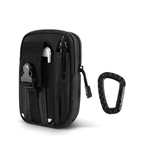 """AIRSSON Tactical Pouch 1 AIRSSON Universal Tactical Molle Pouch EDC/EMT Gear Tool Gadget Belt Outdoor Waist Bag Pocket Organizer with Cell Phone Holster for iPhone X Samsung S8 & Less Than 6.2"""" Smartphone+Carabiner (Black)"""