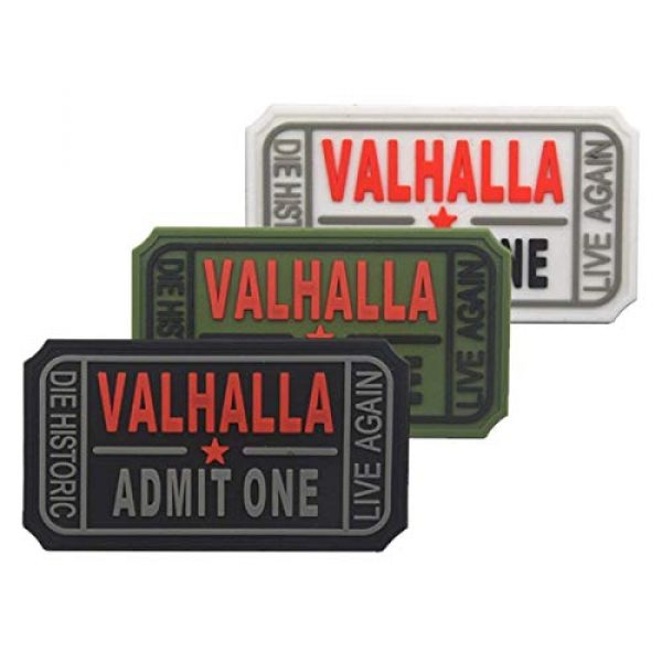 Homiego Airsoft Morale Patch 2 Homiego Ticket to Valhalla Admit One Die Historic Live Again Tactical Morale Badge Rubber Hook Backing Patch (2Blacks)