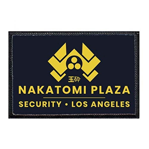 P PULLPATCH Airsoft Morale Patch 1 Nakatomi Plaza - Security - Black Morale Patch | Hook and Loop Attach for Hats, Jeans, Vest, Coat | 2x3 in | by Pull Patch